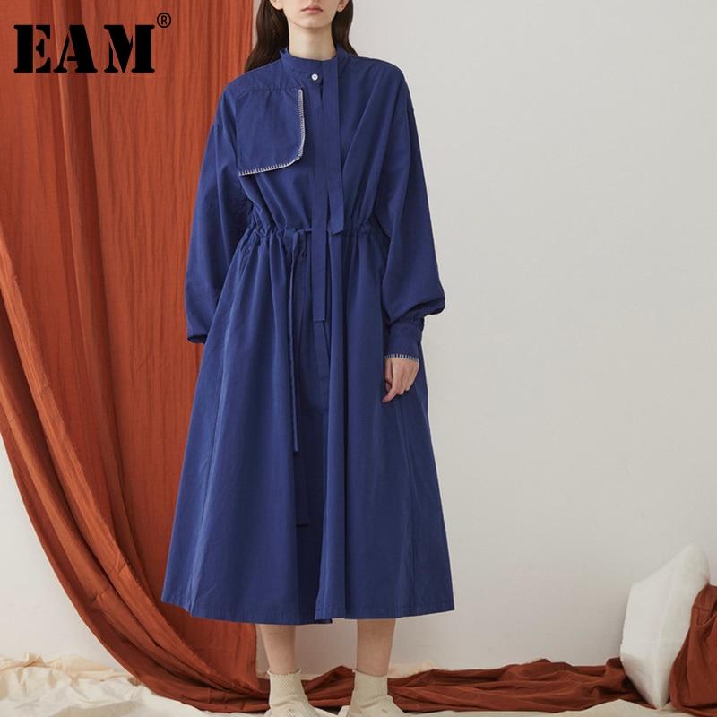 [EAM] 2019 New Spring Summer Lapel Long Sleeve Blue Loose Side Vent Long Big Size Windbreaker Women   Trench   Fashion Tide JR404