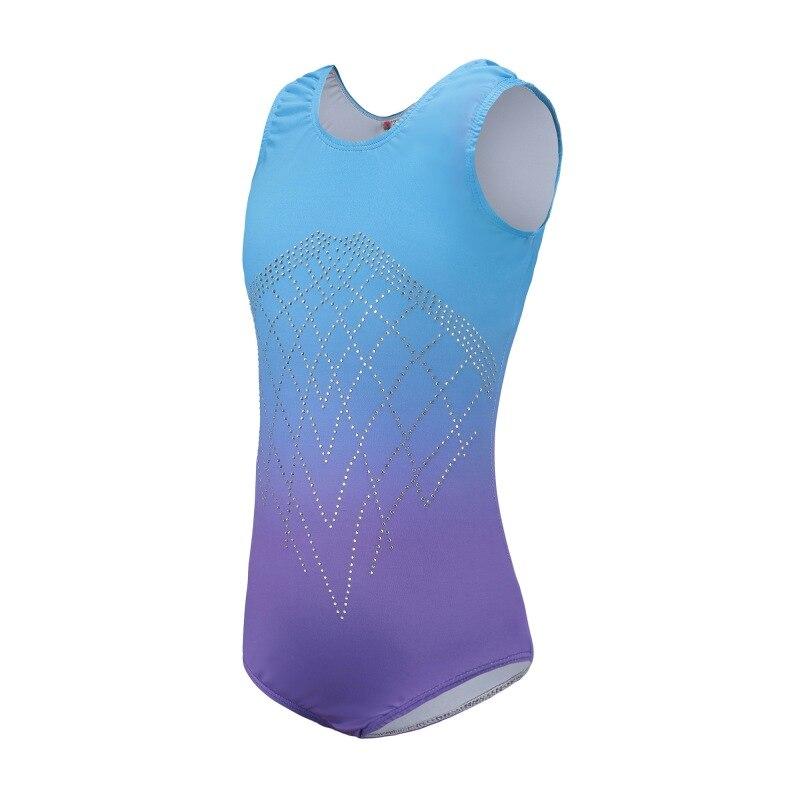 d82de85796b0 Kids Gymnastics Practice Dance Clothes Gradient Color Body Suit Ballet  Gymnastics Suit Sleeveless Diamond Highlights Dance