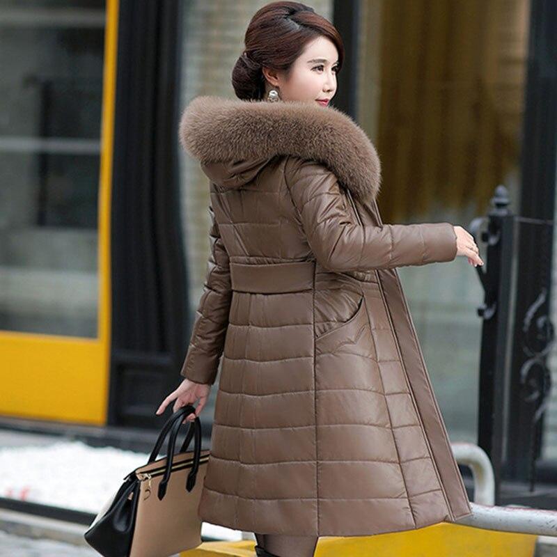 Abrigos de Mujer de invierno lulumily chaqueta de cuero largo abrigo de moda femenina cuello de piel grande grueso delgado más tamaño de piel de oveja Parkas Outwear-in Parkas from Ropa de mujer    3