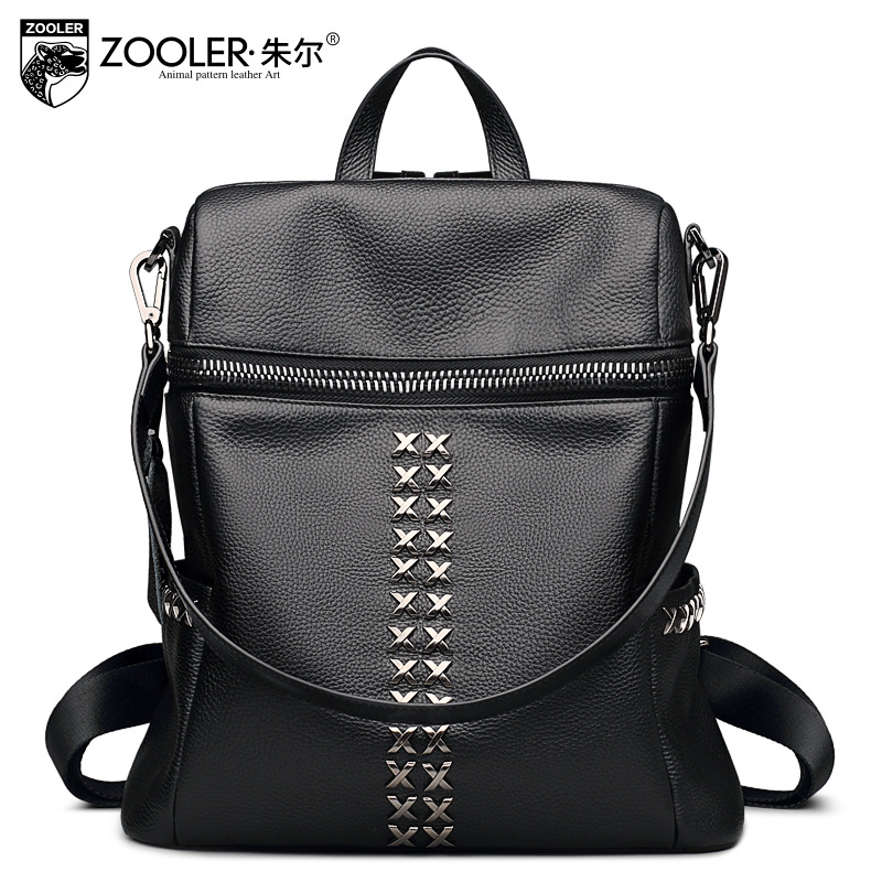 ZOOLER Genuine Leather Preppy Style Fashion Girl Backpack School Backpacks Woman Bag Leisure Rivets Students Backpack Mochila primary school students school bag 3 6 candy color preppy style backpack