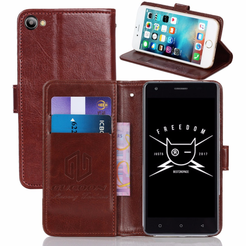 GUCOON Vintage Wallet Case for Just5 Freedom M303 5.0inch PU Leather Retro Flip Cover Magnetic Fashion Cases Kickstand Strap(China)