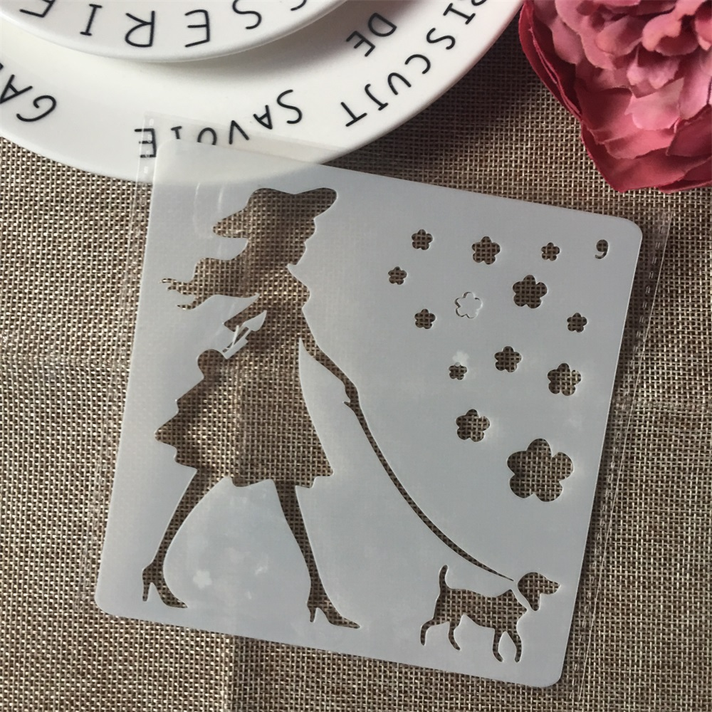 1Pcs 13cm Girl And Dog DIY Layering Stencils Wall Painting Scrapbook Coloring Embossing Album Decorative Card Template