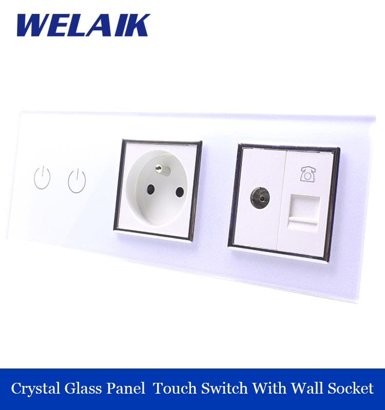 ФОТО WELAIK Crystal Glass Panel  wall Switch EU touch control Screen Wall Light Switch 2gang1way  tv phone Socket A39218F8TVTPW/B