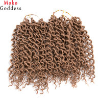 MoKoGoddess 18 Inch Faux Locs Curly Blonde Hair Extensions 24stands Pack Synthetic Braid Crochet Hair 100g