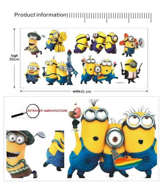 Newest cartoon medium Size 45*30CM funny Despicable Me wall sticker kids for bedroom