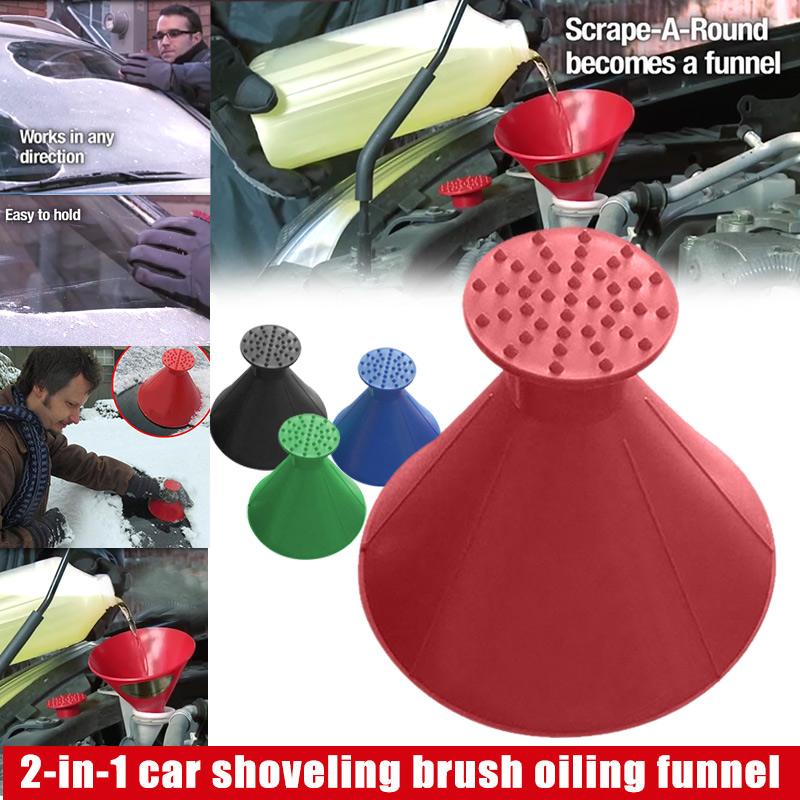 Do Promotion! 2 In 1 Tool Oil Funnel Round Ice Scraper Car Windshield Scraper Snow Cleaning Brush