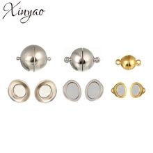 XINYAO – fermoirs magnétiques solides ronds pour Bracelets et colliers, diamètre 6/8/10/12/14/16/18mm, fermoirs d'extrémité pour la fabrication de bijoux, 10 pièces, F774