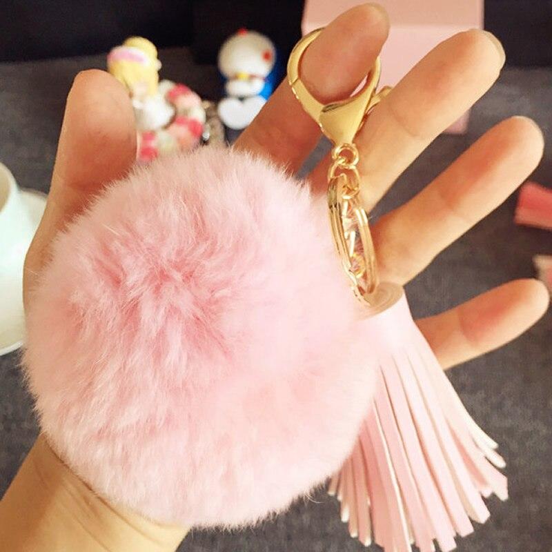 Sold By PC Pick 11 colors 8CM Genuine rex Rabbit fur ball keychain Car key ring Bag Pendant fur pom fluffy key chains