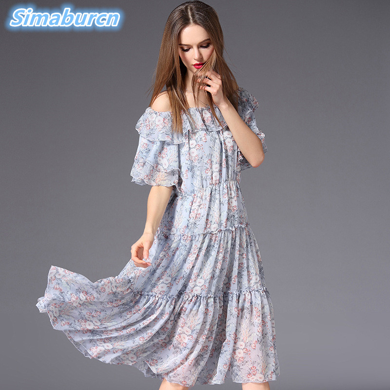 De Dames Bleu Slash Imprimé Soie Qualité Clair Floral Dress Robes En Vêtements Robe Femmes Taille D'été Tempérament Blue Haute Mousseline Cou Light 7qXwvzxz6