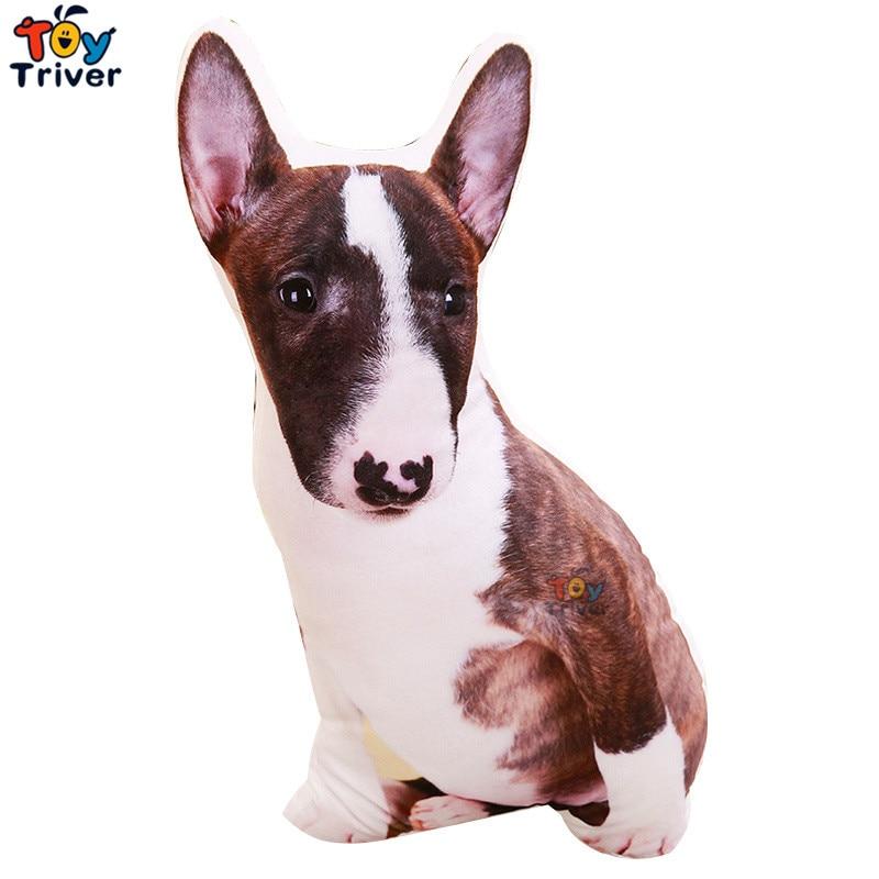 Plush Bull Terrier Dog Toy Triver Stuffed Animal Doll Kids Baby Children Birthday Gift Sofa Cushion Throw Pillow Home Decoration