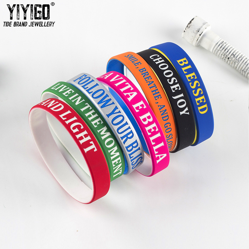 Us 1 97 48 Off Pieces Whisper Hy Silicone Bracelet Words Men Women Wristband Student Casual Sporty Retail Whole In