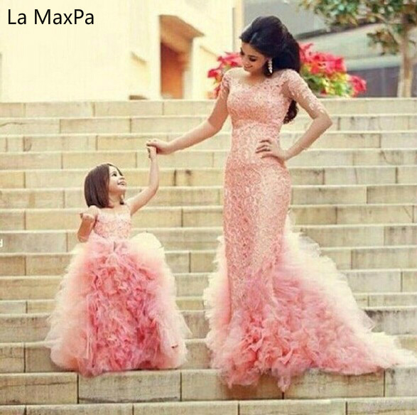 New Sleeveless Lace Flower Girls Tutu Pink Piano Performance Children Wedding Birthday Party Dance Dress pink gorgeous lace see through sleeveless mini dress