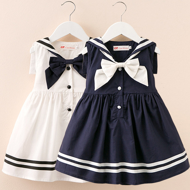 3efd2cd5946 Sailor Collar Dresses 2019 Summer Preppy Style Infant Girl Dress Baby Girls  Clothes Cotton Girl Christening Baby Dress White
