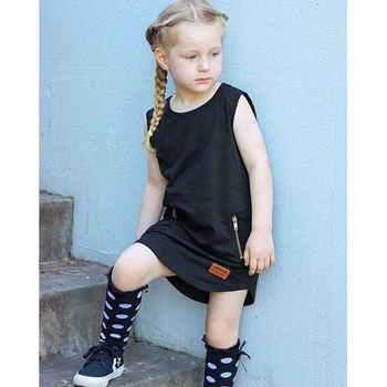 2018 Fashion Summer Cool Solid Party Girls Dresses Children Baby Kids Girls Clothes Dresses Princess Black Style 1 2 3 4 5 Years