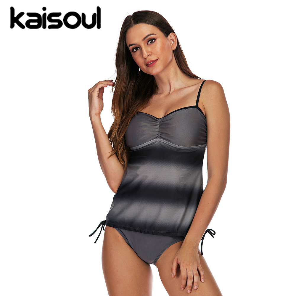 Grey Sexy Bikini Swimwear Two Pieces Women Swimsuit Plus Size Push Up Print Swimming Beachwear New Arrival Vintage Padded
