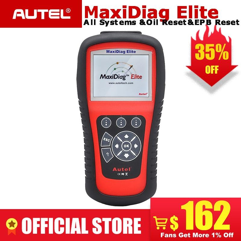 AUTEL MaxiDiag Elite MD802 Todo o sistema detector carro OBDII ferramenta de diagnóstico do scanner leitor de código para EPB reinício Do Óleo OBD2 PK MD805