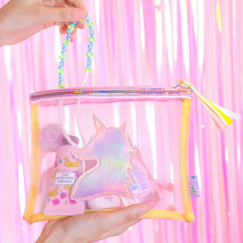 Women Unicorn Cosmetic Bag Travel Transparent Makeup Case Zipper Make Up Handbag Organizer Storage Pouch Toiletry Functional Box new women fashion pu leather cosmetic bag high quality makeup box ladies toiletry bag lovely handbag pouch suitcase storage bag