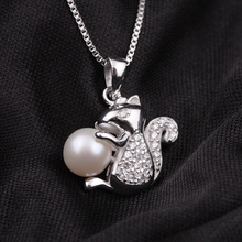Meibapj hot fashion squirrel pendant cultured genuine pearl meibapj hot fashion squirrel pendant cultured genuine pearl necklace 925 sterling silver freshwater pearl jewelry for woman aloadofball Image collections
