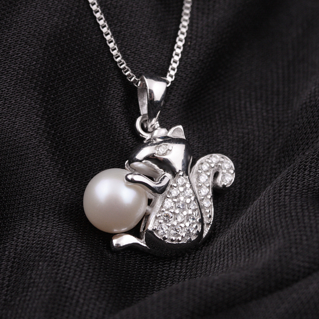 [MeiBaPJ] Hot Fashion Squirrel Pendant Cultured Genuine Pearl Necklace 925 Sterling Silver Freshwater Pearl Jewelry for Woman
