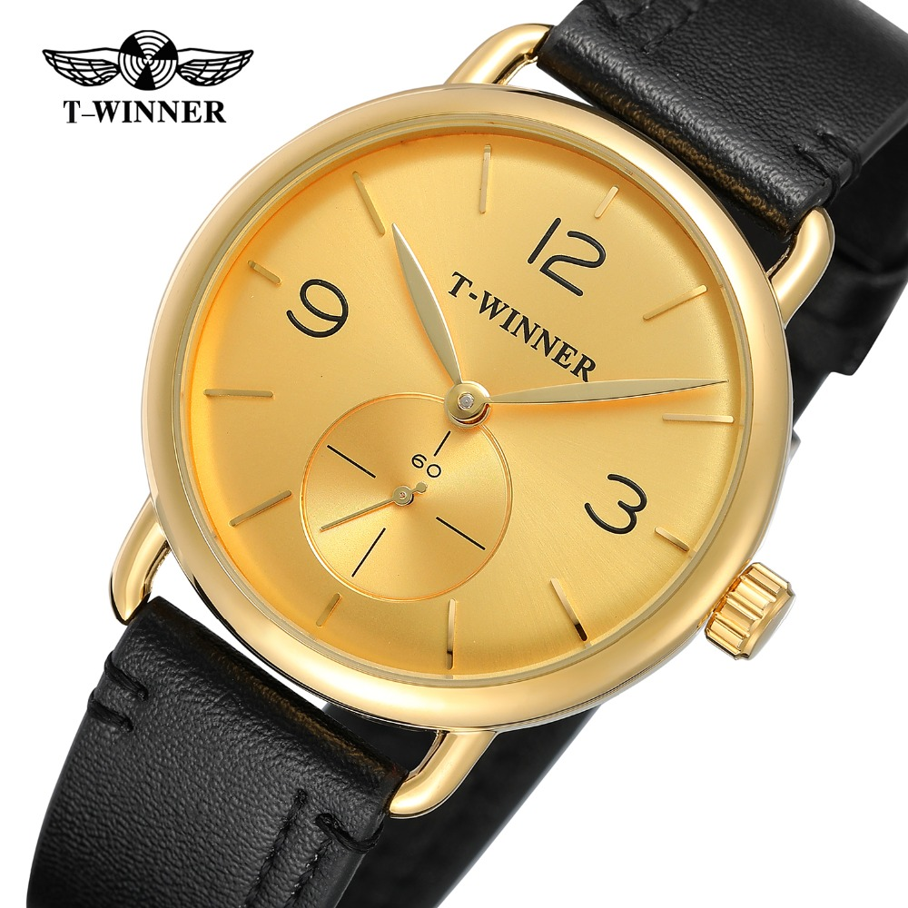 T-Winner New Design Watches Men's Hand-wind Top Quality Simple Classic Analog Dial Fashion Leather Strap Wristwatch WRG8166M3 все цены
