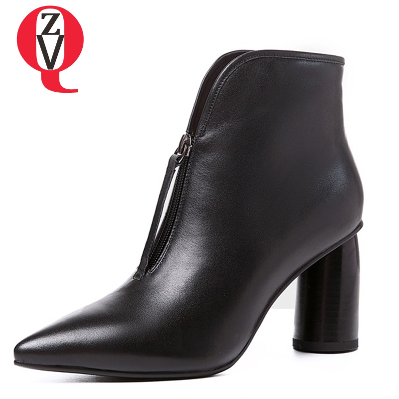 ZVQ shoes women new style fashion sexy elegant genuine leather super high strange style pointed toe zip black and white booties fashion style