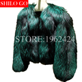 Envío libre Más El tamaño 2016 de la moda de nueva invierno de las mujeres chaqueta de cuero de piel de zorro de plata de lujo verde de alta calidad