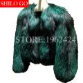 Free shipping Plus size 2016 fashion new winter women high-quality luxury green silver fox fur leather jacket
