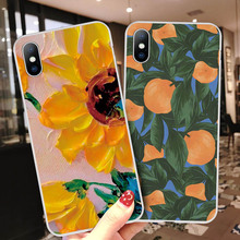 Ottwn Sunflower Floral Cases Cover For iPhone 6 6s 7 8 Plus 5 5s SE Flower Fruit Soft TPU Cases Cover For iPhone X XS XR Xs Max cheap Fitted Case Anti-knock Dirt-resistant Apple iPhones iPhone 5s IPHONE 6S iPhone 6s plus IPHONE XS MAX Iphone SE IPHONE XR