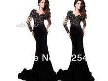 One Shoulder Black Lace Prom Dress 2013 New Fashion Sheath Satin Beads Sequin Floor lenght MK08A56