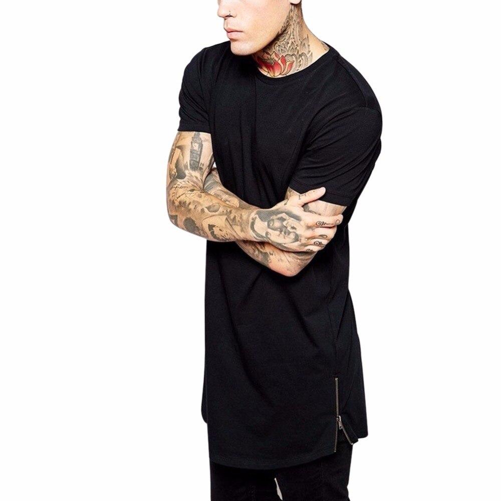 2017 Fashion High Quality Summer New Mens Clothing Long Black T Shirt Zipper Hip Hop Longline Top For Tall Men Streetwear Tee S4