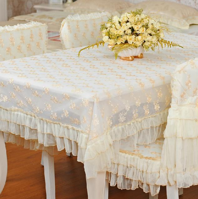 White Color Floral Lace Table Cloths Dining Cover Size 110160cm TableclothChina