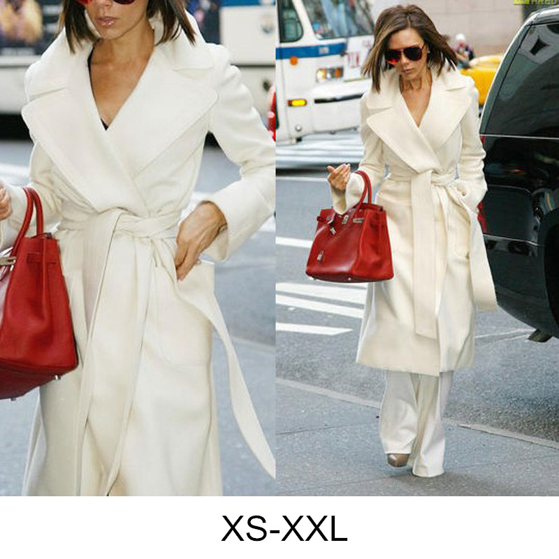 Designer Womens Winter Cashmere Coats Blend Trench Runway Coat Belted Long Winter Cardigan White Coat Outwear Cappotto Donna