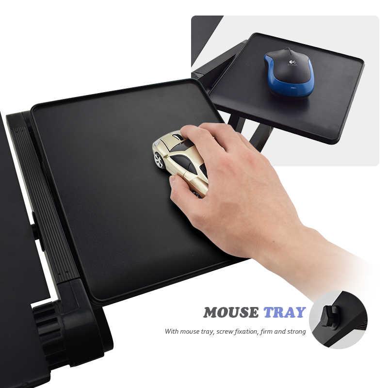 Aluminium Alloy Adjustable Laptop Stand Laptop Meja Tidur Berdiri Notebook Berdiri dengan Kipas Pendingin Mouse Papan untuk Sofa Bed Tray