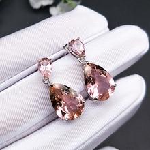 Bolai elegant nano morganite dangle earrings 925 sterling silver gemstone fine jewelry teardrop earrings for women wedding gift bling jewelry 925 sterling silver teardrop hook earrings