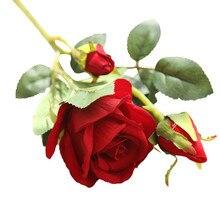 Искусственный цветок, искусственные розы, фланелевый цветок, свадебный букет, Свадебная вечеринка, домашний декор, розы, Искусственные Яркие розы