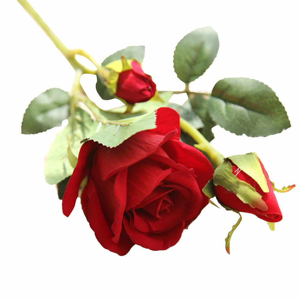 フェイクフラワー人工偽のバラフランネルフラワーブライダルパーティーの装飾花人工輝度ローズ