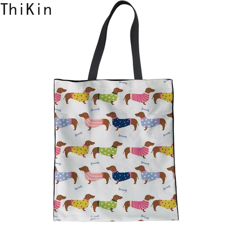 THIKIN mignon coloré chiot teckel impression femme coton Shopping sacs fourre-tout mode pliant sac en tissu grand Recyle Shopper sac
