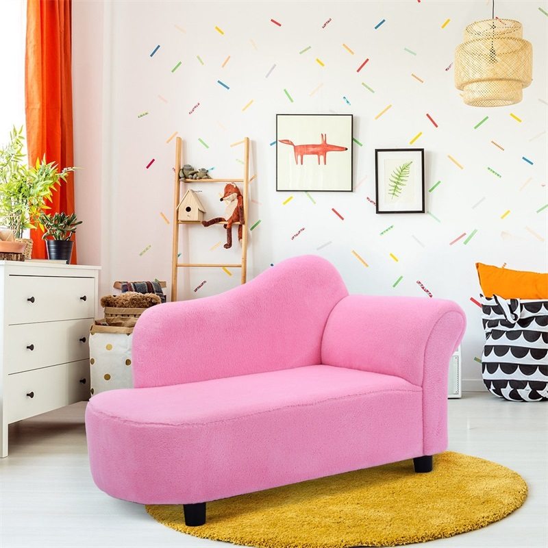Pink Princess Style Coral Fleece Armrest Chair Kids Sofa Chair Comfortable Baby Furniture HW54195