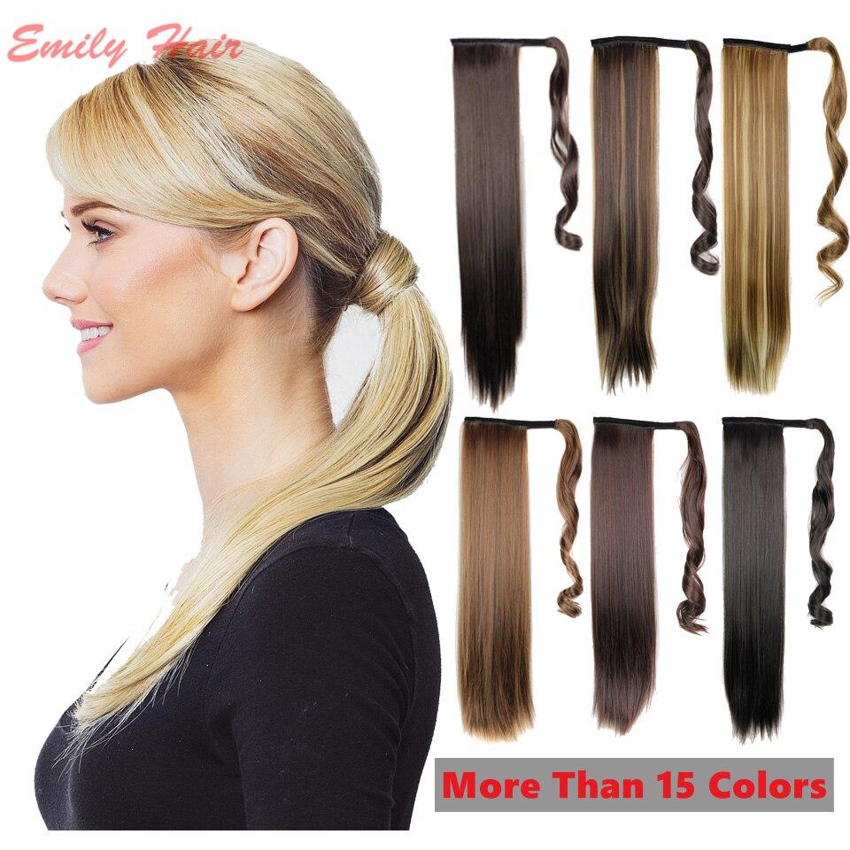 Woman Ponytail Fashion Hairpiece 22 55cm Long Magic Paste Straight