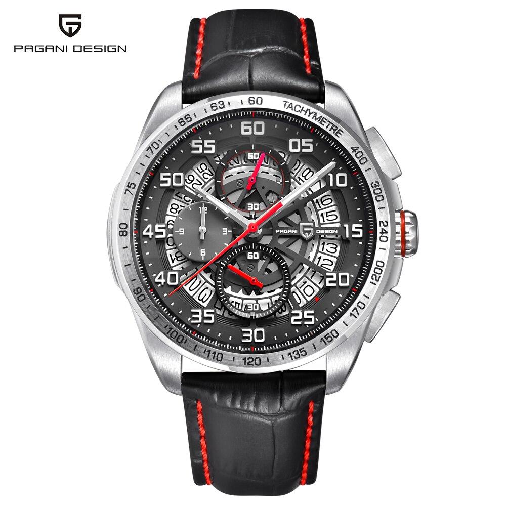 PAGANI DESIGN Quartz Watch Men Hollow Skeleton Chronograph Wristwatches Mens Leather Waterproof Sport Watches Clock montre homme