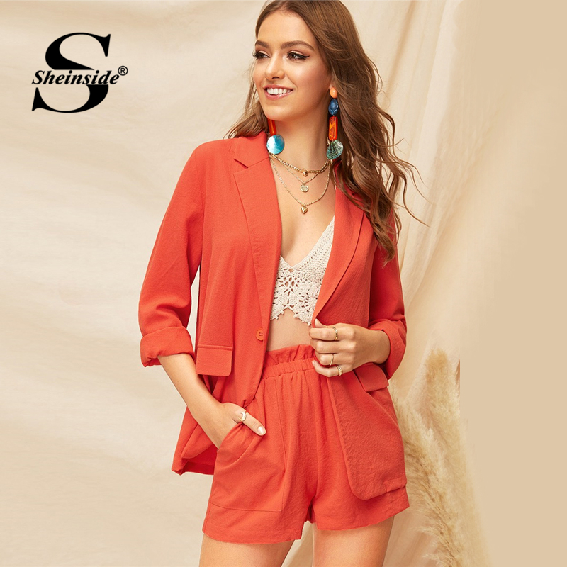 Blazer Sheinside Casual Orange Single Button Kerb Kragen Blazer Frauen 2019 Frühling Doppel Tasche Blazer Damen Solide Trim Blazer Anzüge & Sets
