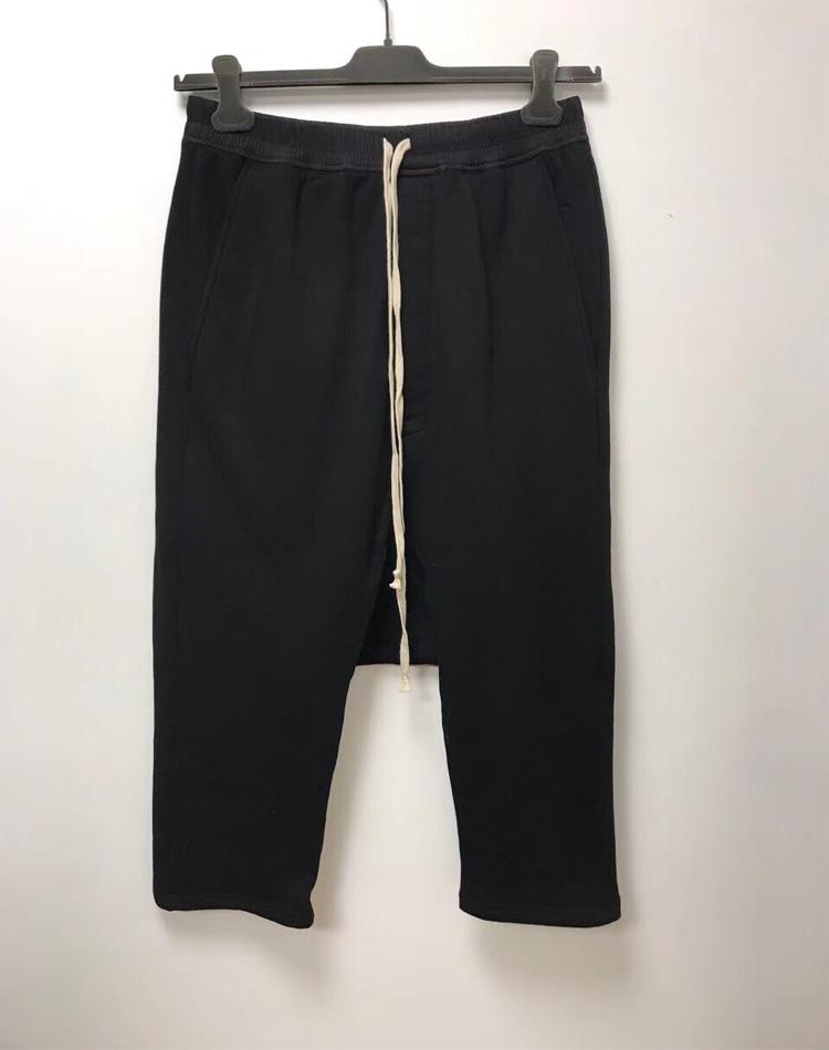 Owen Seak Men Casual Harem Pants Cotton Gothic Men's Clothing Sweatpants Summer Women Calf Length Pant Loose Black Pants Size XL-in Harem Pants from Men's Clothing    1