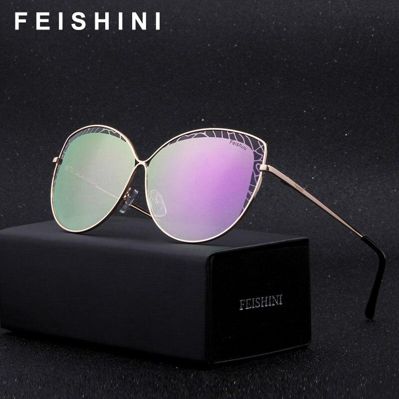 FEISHINI Marque Métal Cadre Rose Or Cateye lunettes de Soleil Dames HD Miroir 2018 De Mode À La Mode Femmes Lunettes UV Protecteur Gradient