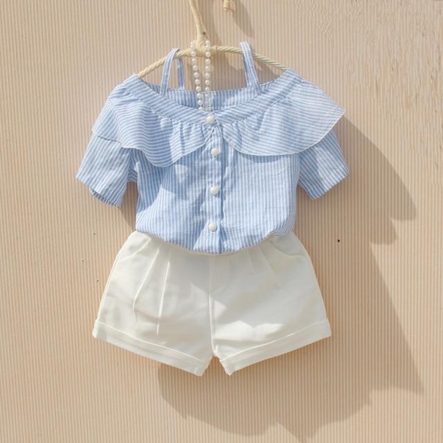 Verano niño adolescente ropa niñas blusa blanco azul rayas manga corta chica  Tops blusas camisas para 5c532691db26