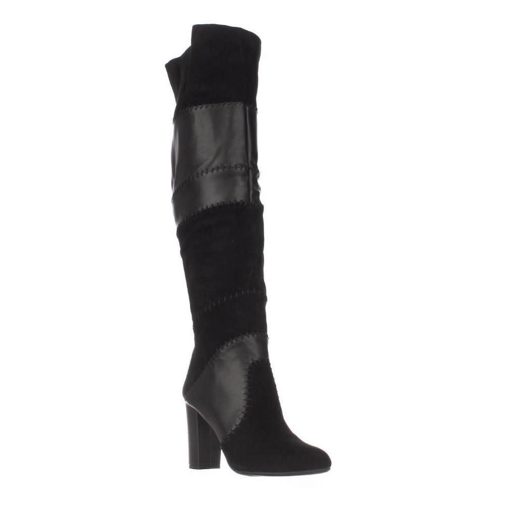 Ty02 Genuino Gamuza Cuero Zapatos Adultos super Negro La Botas Cremallera Alta Tacón Slip Mujeres Rodilla Cuadrado Para De Sobre 2019 Invierno Chico 5f1qII