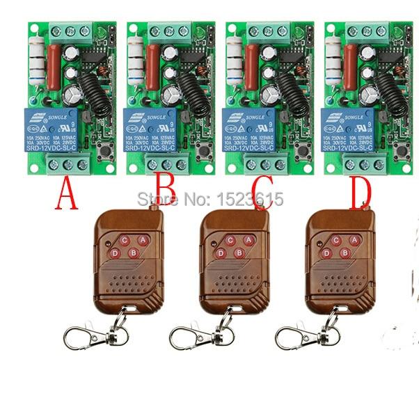 цены NEW AC220V 1CH 10A Radio Controller RF Wireless Push Remote Control Switch 315 MHZ 433 MHZ teleswitch 3 Transmitter +4 Receiver