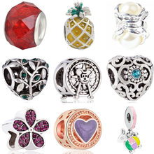 New Arrival Crystal Shoes Sheep Pineapple Ferris Wheel Butterfly Mickey Bead Fit Pandora Charms for Women Party Gift DIY Jewelry(China)