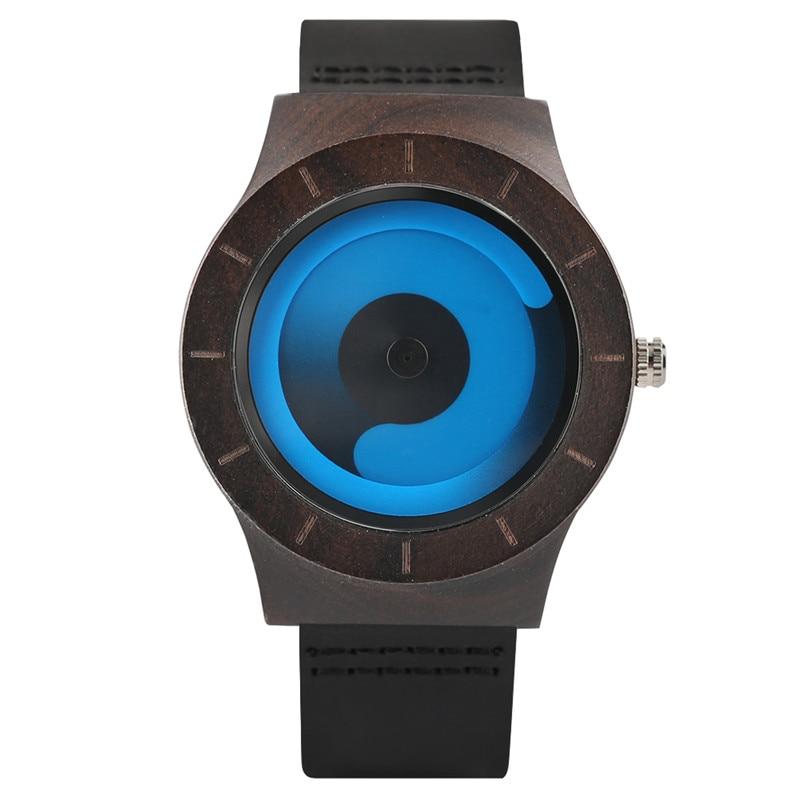 Unisex Vortex Fashion Gradient Color Wooden Watch Unique Aurora Swirl Quartz Wristwatch Casual Leather Clock Gifts For Men Women