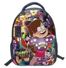 New Fashion 13 Inch Cartoon Student Children Backpack Bags Book Bags Gravity Falls Mochila for Kids Boys Girls