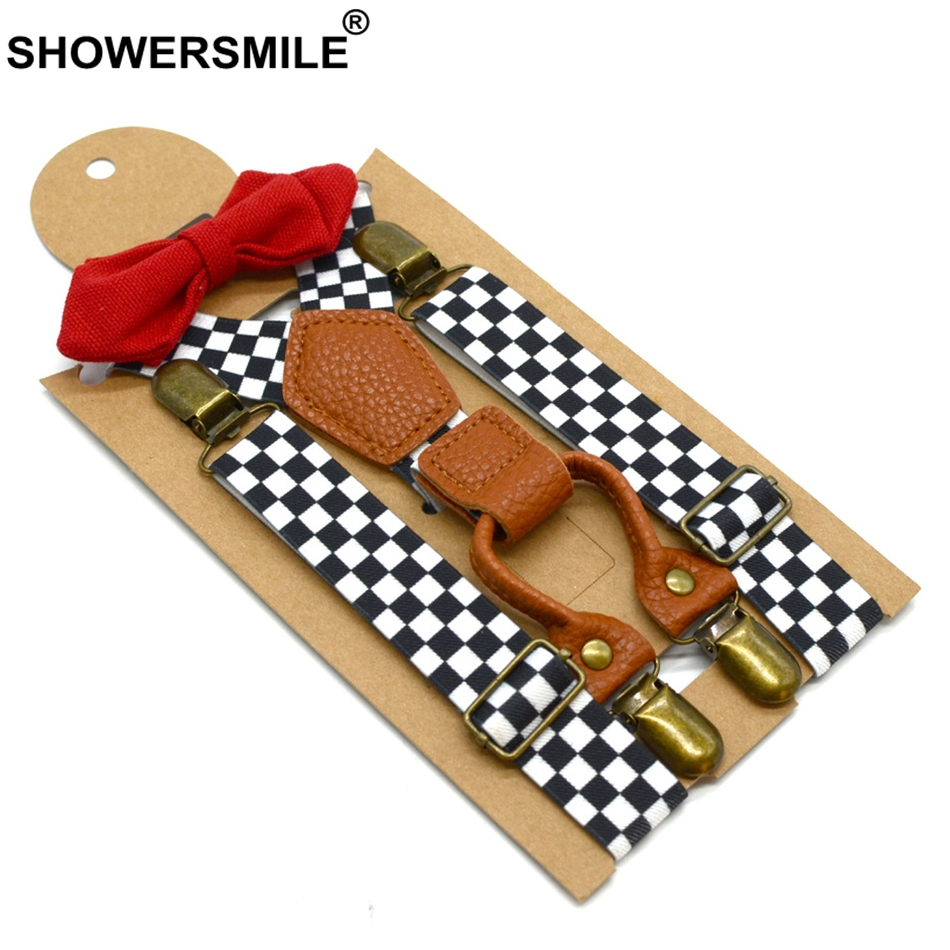 SHOWERSMILE Checkered Suspenders Boys Formal Designer Suspenders Bow Tie Children 4 Clips Adjustable Kids Braces Leather Deco